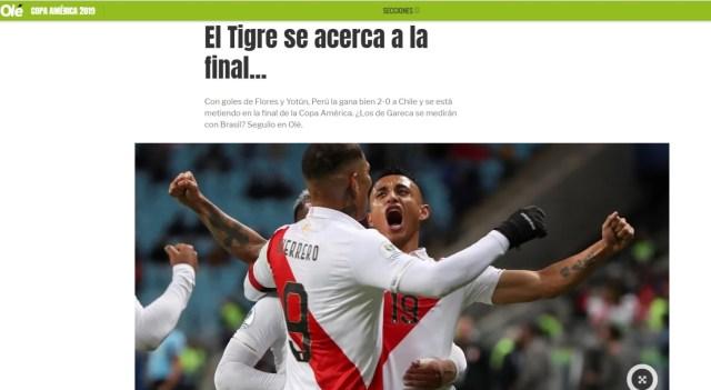 El diario Olé (Argentina) se refirió Ricardo Gareca como el director técnico que se medirá ante Brasil en la final de Copa América.