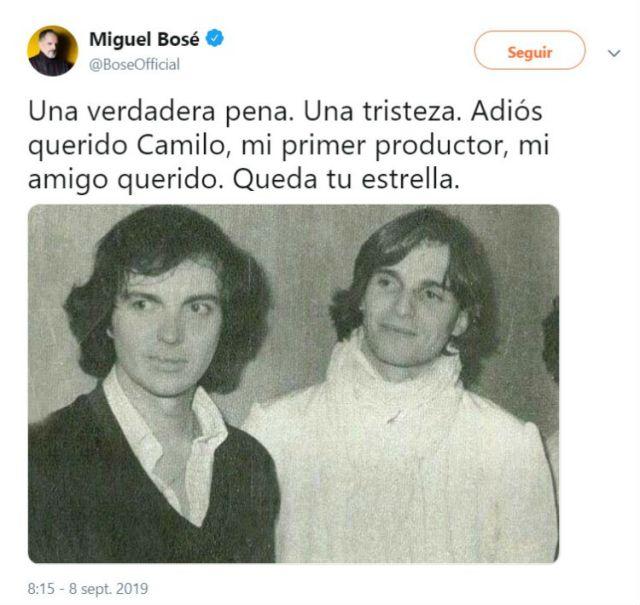 El músico Miguel Bosé se despidió de Camilo Sesto quien fue su primer productor y amigo.