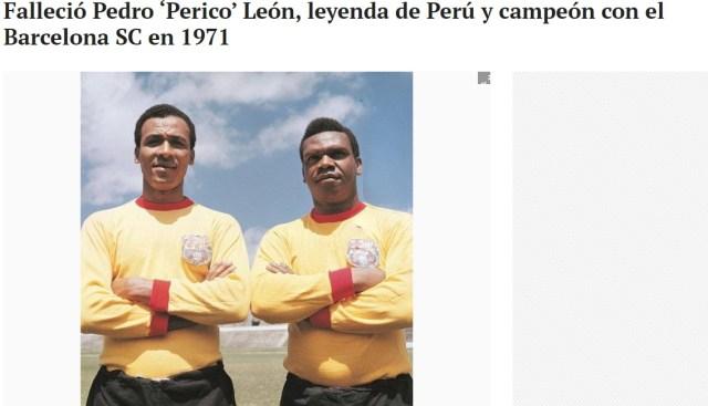 El Universo (Ecuador).Pedro Pablo León jugó en el Barcelona y Deportivo Galicia de Venezuela.