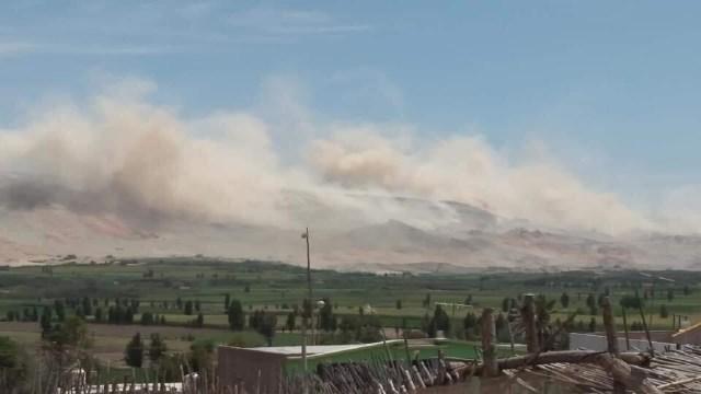 Desprendimiento de tierra en el distrito de Vitor, epicentro del sismo.