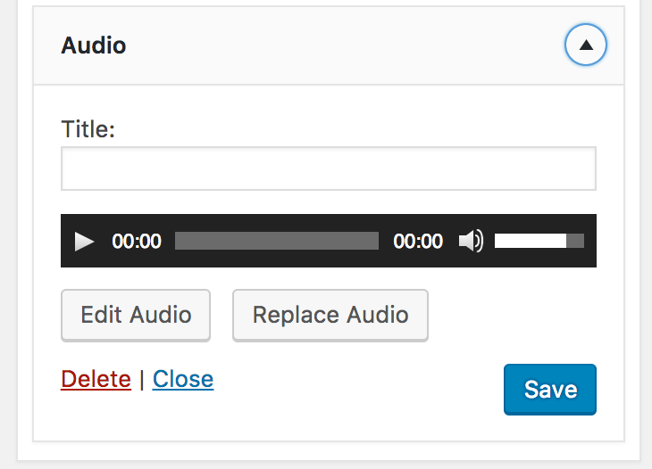 Audio Widget WordPress 4.8