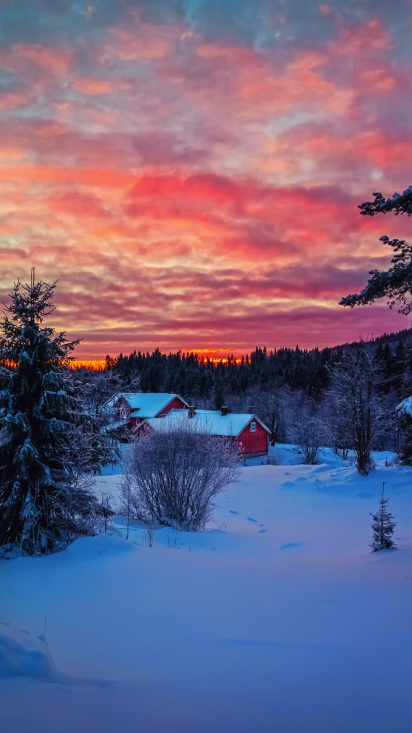 Amazing Winter Sunset Landscape Wallpaper 1080x1920