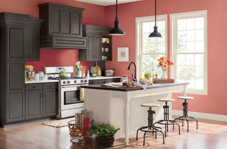 Dapur warna dusty mauve