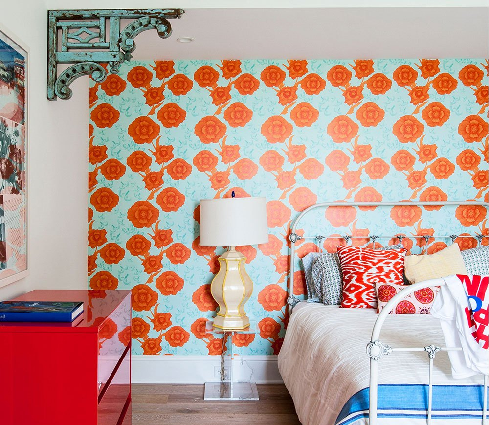 Modern Country Bedroom with Bright Floral Wallpaper and Red Cabinet 3460186848 1538108089492