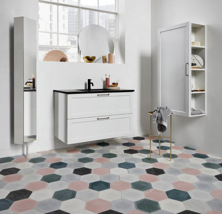 NONAGON style n9s ceramic floor tiles bathroom hexagon pink gray white modern contemporary pattern