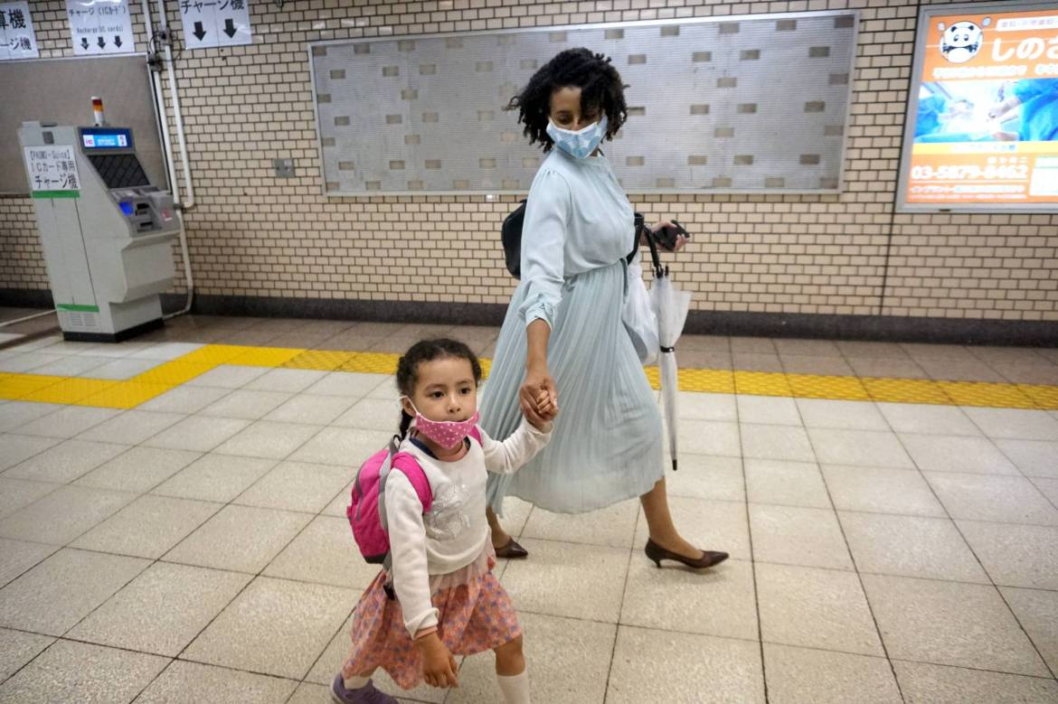 """""""It's hard to get into public day care, and private day care is expensive,"""" Tokyo-based self-employed brand consultant Teni Wada says.   MARA BUDGEN"""