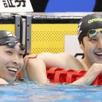 Swimmers Kosuke Hagino (left) and Daiya Seto are among those who have qualified for the Tokyo Olympics.    KYODO