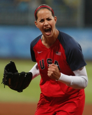 Starting pitcher Cat Osterman of the U.S. reacts after striking out a Japan batter in the first inning of their gold medal softball game at the Beijing 2008 Olympic Games in August 2008.     | REUTERS