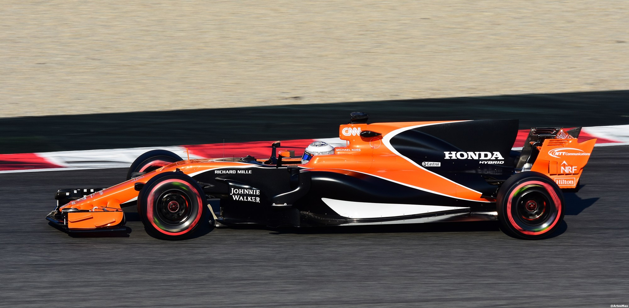 hight resolution of fernando alonso testing the mcl32 for mclaren at barcelona in pre season testing in early