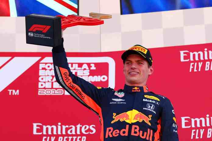 BARCELONA, SPAIN - MAY 12: Third place finisher Max Verstappen of Netherlands and Red Bull Racing celebrates on the podium during the F1 Grand Prix of Spain at Circuit de Barcelona-Catalunya on May 12, 2019 in Barcelona, Spain. (Photo by Dan Istitene/Getty Images)