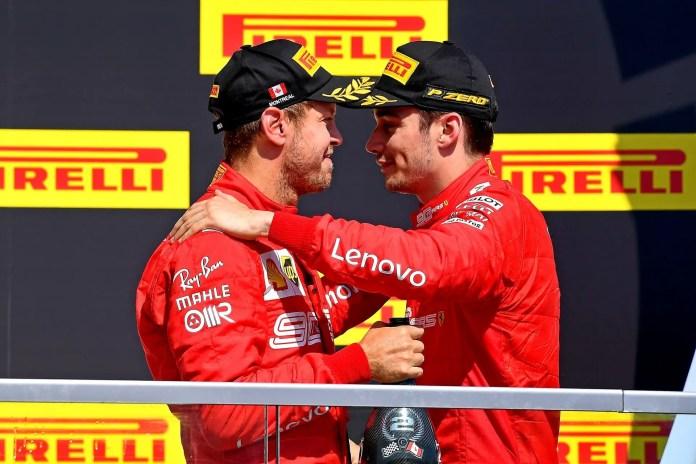 2019 Canadian Grand Prix, Sunday - Charles Leclerc consoles teammate Sebastian Vettel