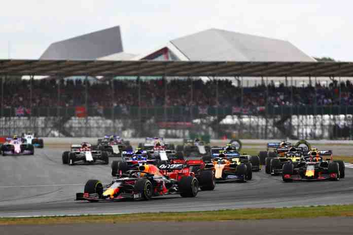 2019 British Grand Prix, Sunday - Max Verstappen leads Pierre Gasly on Lap 1 (image courtesy Red Bull Racing)