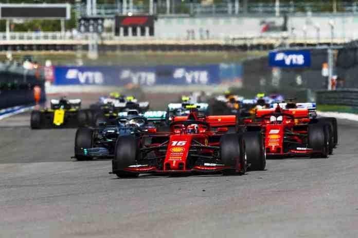2019 Russian Grand Prix, Sunday - Charles Leclerc leads Sebastian Vettel into Turn 1 (image courtesy Scuderia Ferrari Press Officer)