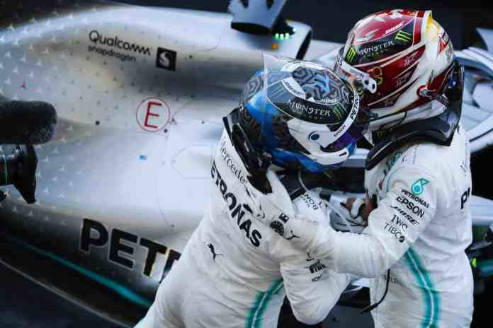 2019 Japanese Grand Prix, Sunday - Valtteri Bottas & Lewis Hamilton (image courtesy Mercedes-AMG Petronas)