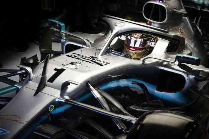 2019 Abu Dhabi Grand Prix, Friday - Lewis Hamilton with the #1 and gold helmet (image courtesy Mercedes-AMG Petronas)