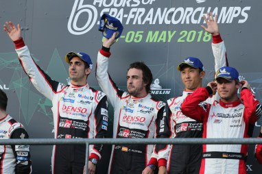 Podium Sebastien Buemi (SUI) Fernando Alonso (ESP) and Kazuki Nakajima (JPN) TOYOTA GAZOO Racing. World Endurance Championship 6 Hours of Spa. 2nd to 5th May 2018 Spa Francorchamps, Belgium.