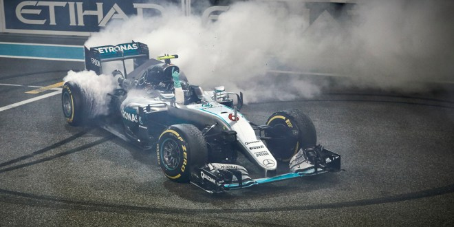 Rosberg celebrates his title win in Abu Dhabi
