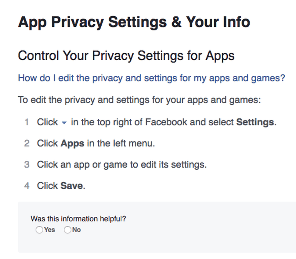 A screenshot of the section of Facebook's FAQ that focuses on app privacy settings.