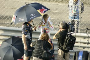Vettel was one of the last drivers to enter the grid before the race, and the attention media was instantly on him