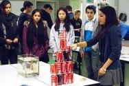Pyramide. Her får elevene se et fantastisk forsøk med colabokser stablet oppå hverandre.