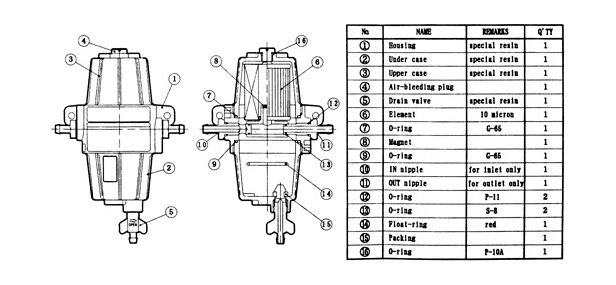 Buy Fuel filter with cleaning settler and filter element