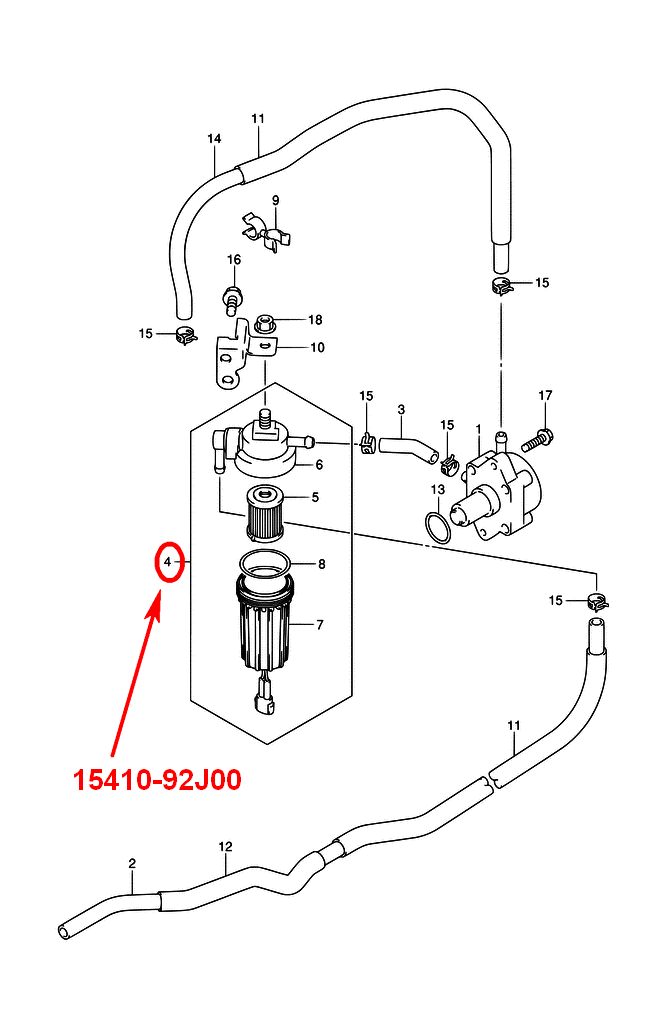 Fuel filter for Suzuki DF100A-140A with water sensor