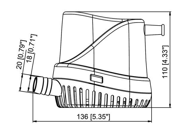 TMC Bilge Pump 500 GPH, 12V, Automatic barcode: 1002212