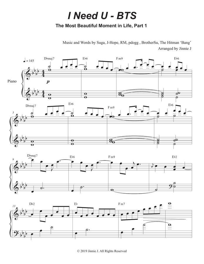 Bts I Need U Piano Sheet Music
