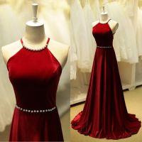 Burgundy Prom Dresses,Backless Prom Dress,Taffeta Prom