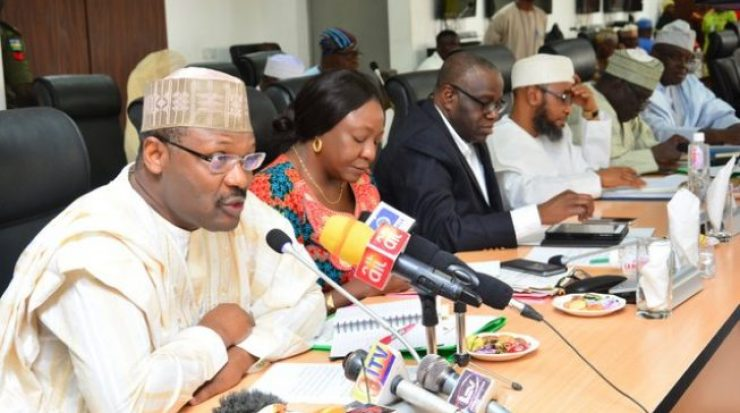 Image result for inec meeting  MASSIVE OUTRAGE! See How Atiku Allegedly Confirmed PDP Is Working With INEC Mahmood Yakubu 653x365
