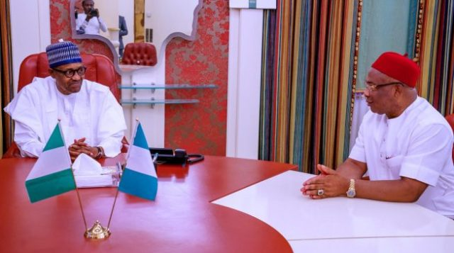 Uzodinma meets Buhari, seeks refund of N32bn 'spent on FG roads in Imo'