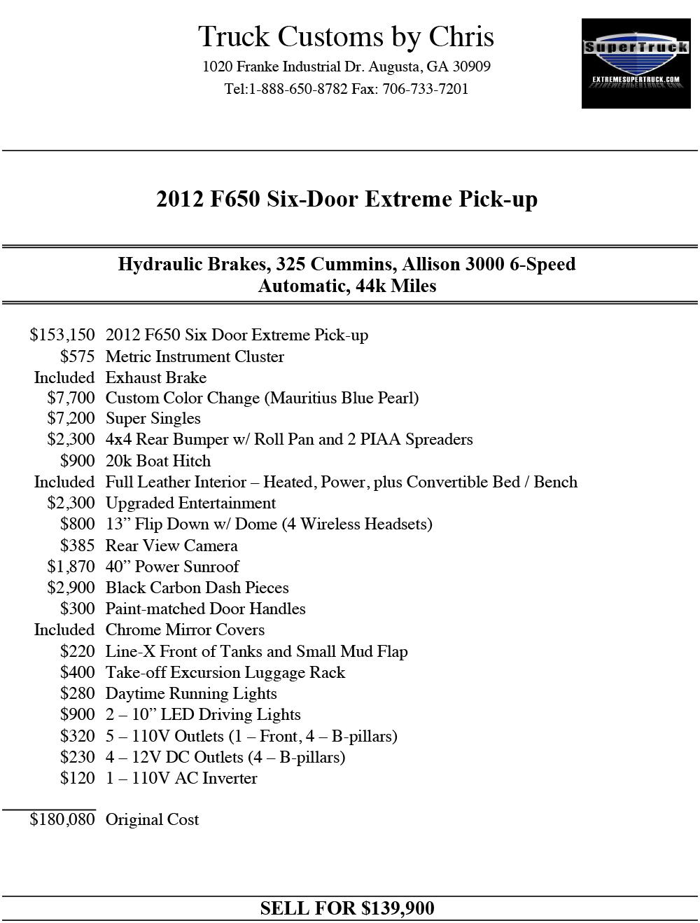 F650 6 Door : 6-Door, Pickup, Supertrucks