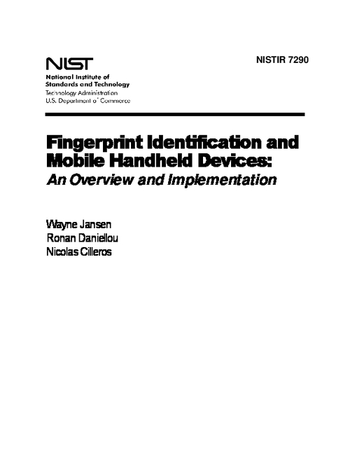 NIST Interagency Report (NISTIR) 7290 Fingerprint