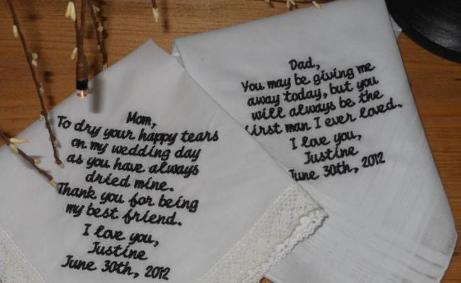 Personalized Wedding Handkerchief For Mom And Dad Great