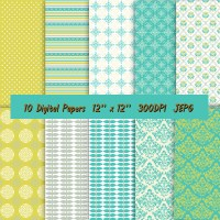 Digital Paper In Beautiful Combination Of Colors  Lime ...