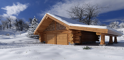 Log garages and log barns floor plans bc canada for Winter cabin plans