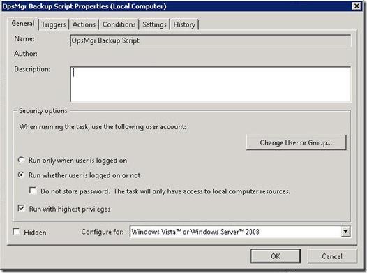 Scheduling OpsMgr Backup in Server 2008 - 11