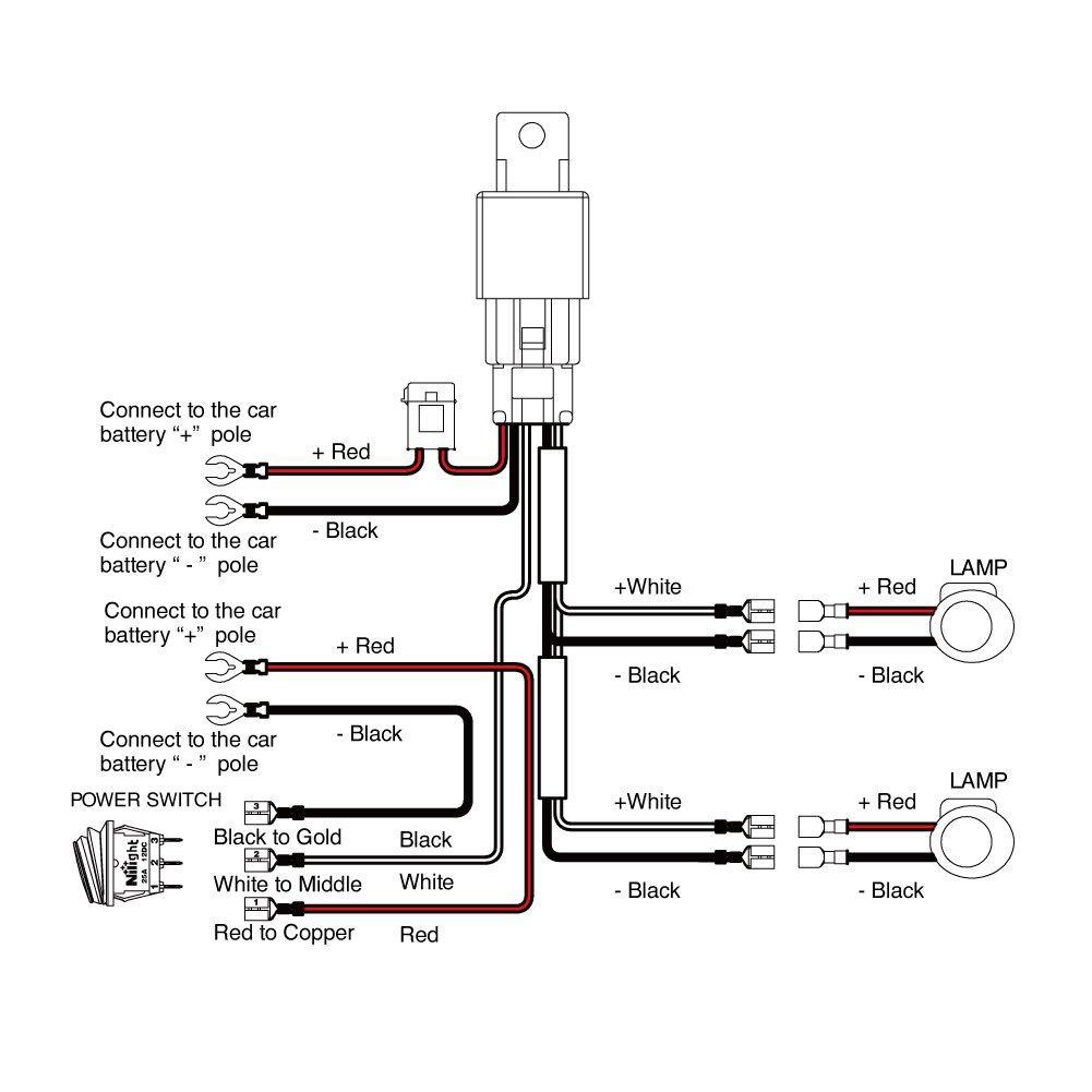 Nilight Off Road LED Light Bar Wiring Harness Kit 12V