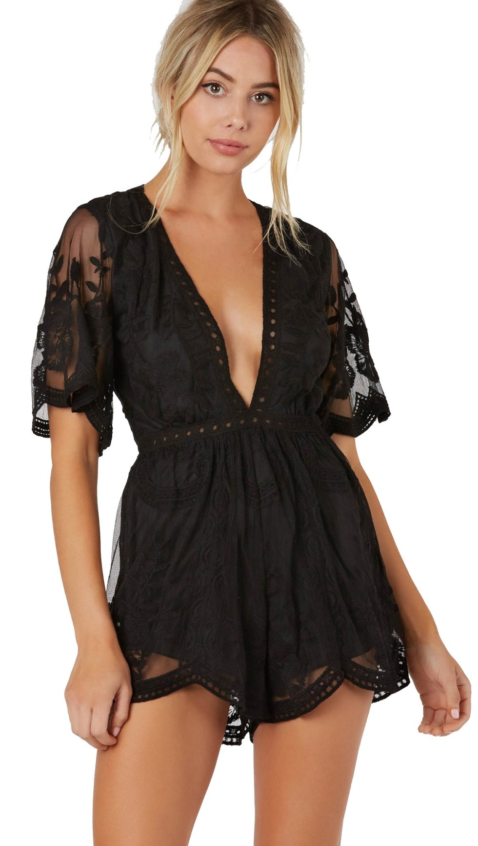 antique lace romper black