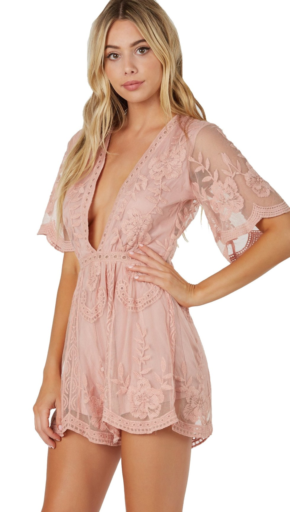 antique lace romper pink short