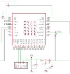 once able to edit the schematic i re made the original board that sam had made and then added in 2 output pins with diodes for current protection  [ 2076 x 1004 Pixel ]