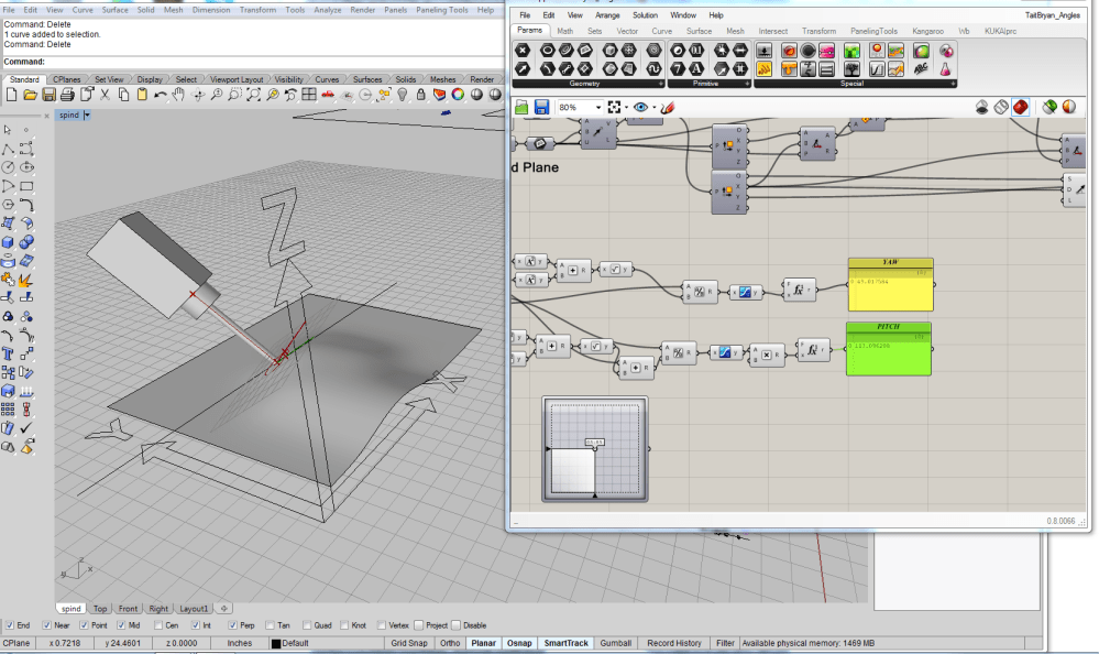 medium resolution of using rhino and grasshopper i decompile the tooling vector in order to extract yaw and pitch angles that correspond to the 4th and 5th axis