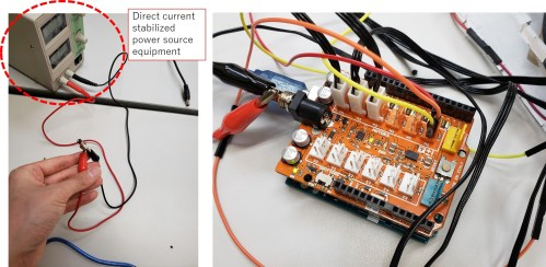 small resolution of to supply power to the arduino shield i used direct current stabilized power source equipment in fablab kannai i adjusted the input voltage as 5v