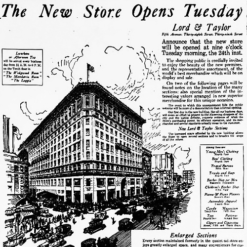 Line drawing of the new Lord & Taylor New York City flagship location from a 1914 announcement.