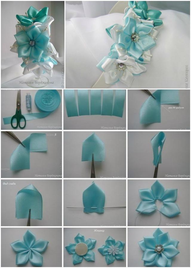 Ribbon Flowers Diy : ribbon, flowers, Pretty, Kanzashi, Ribbon, Flower, Hairband