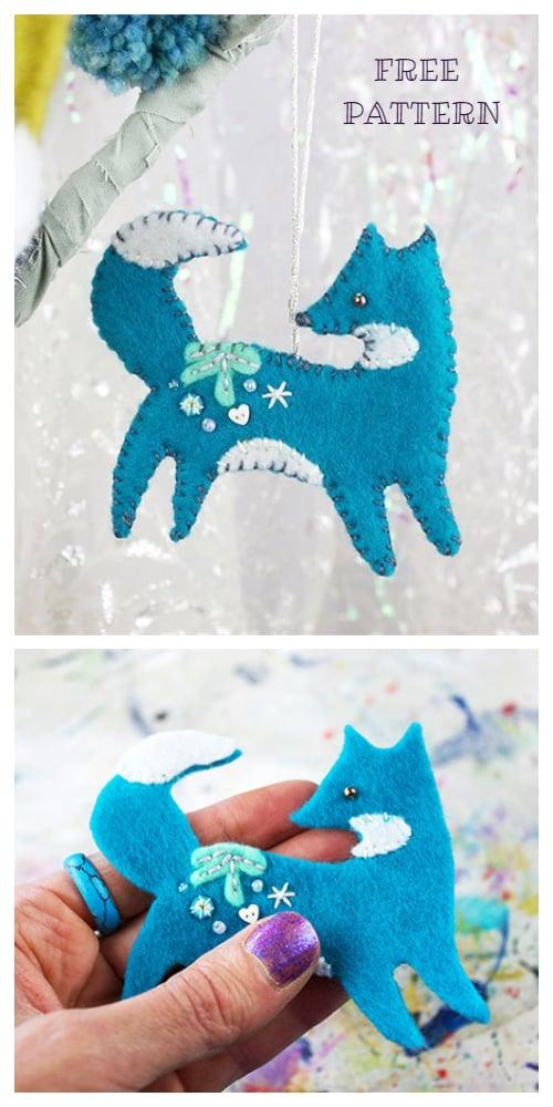 Felt Fox Ornament : ornament, Christmas, Ornament, Pattern, Template