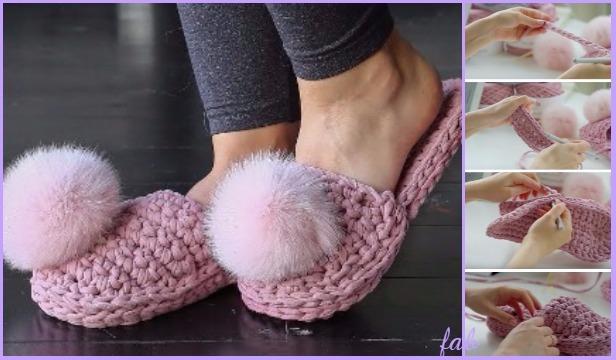 Crochet TShirt Yarn House Slippers Shoes Free Pattern