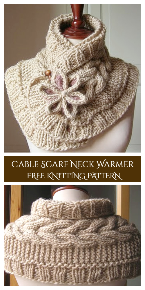 Knitted Neck Warmer : knitted, warmer, Cable, Scarf, Warmer, Flower, Pattern