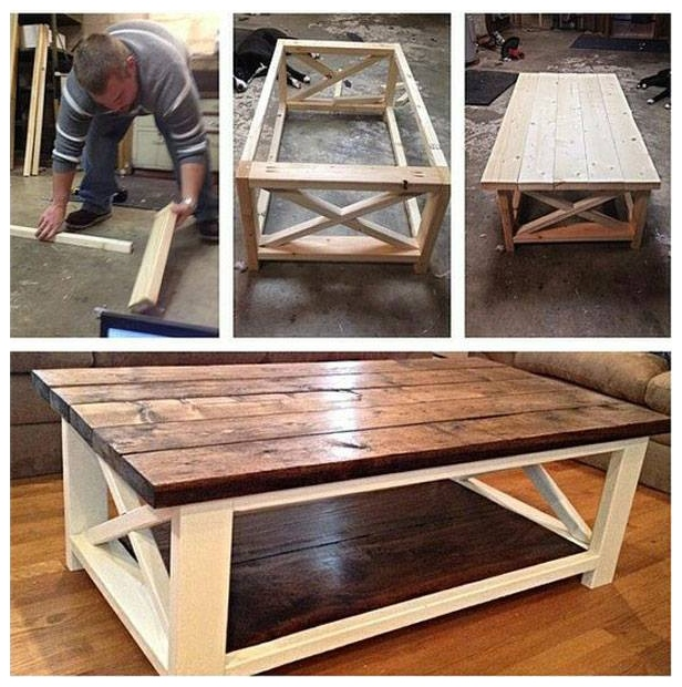 diy rustic x coffee table tutorial free