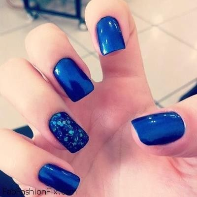 The Fascinating Black Nails With Blue Photo
